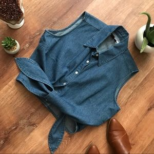 Vintage Denim tie front top